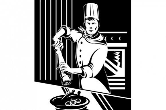 Chef Cook Baker Holding Pepper Shaker example image 1