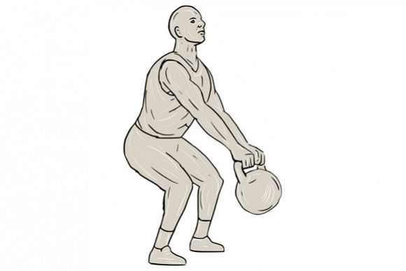 Athlete Fitness Squatting Kettlebell Drawing example image 1