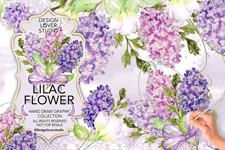 Watercolor LILAC FLOWERS DESIGN clipart example image 1
