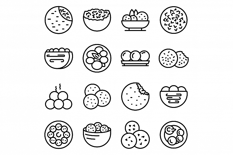 Falafel icons set, outline style example image 1
