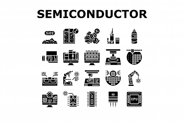 Semiconductor Manufacturing Plant Icons Set Vector example image 1