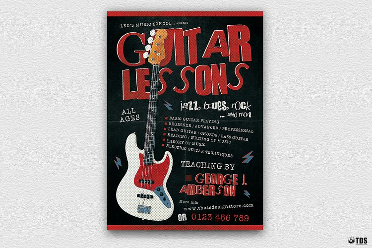 Guitar Lessons Flyer Template V2 example image 1
