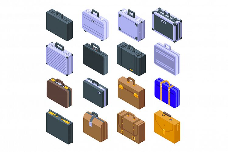 Briefcase icons set, isometric style example image 1