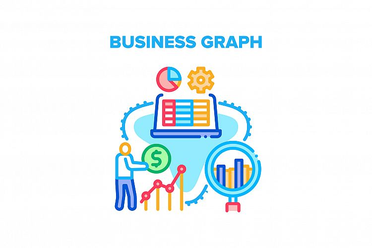 Business Graph Vector Concept Color Illustration example image 1