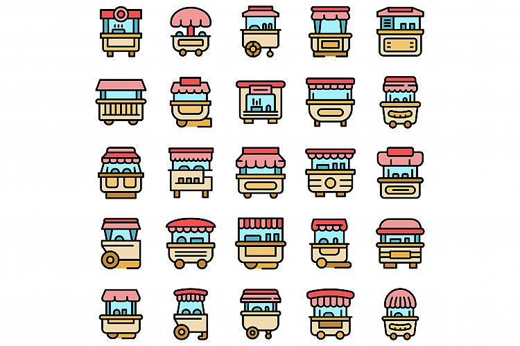Hot dog cart icons set vector flat example image 1