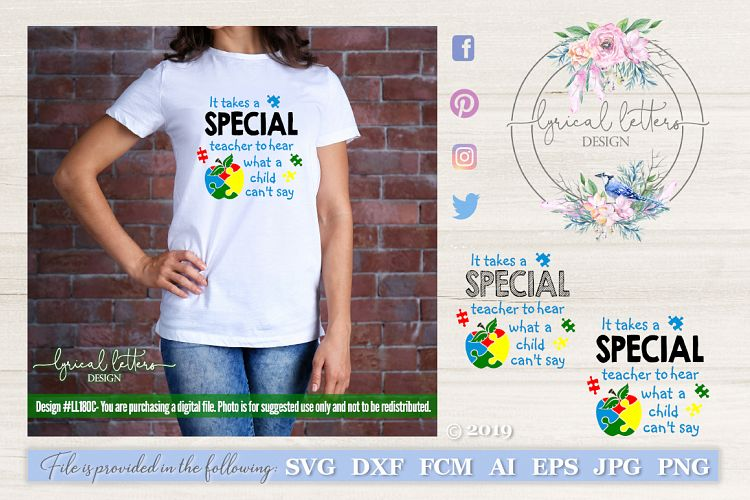 Special Needs Teacher Autism SVG DXF FCM Cut File LL180C example image 1
