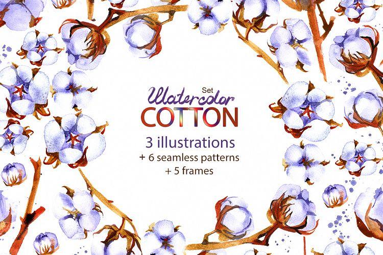 Watercolor cotton - floral set. example image 1
