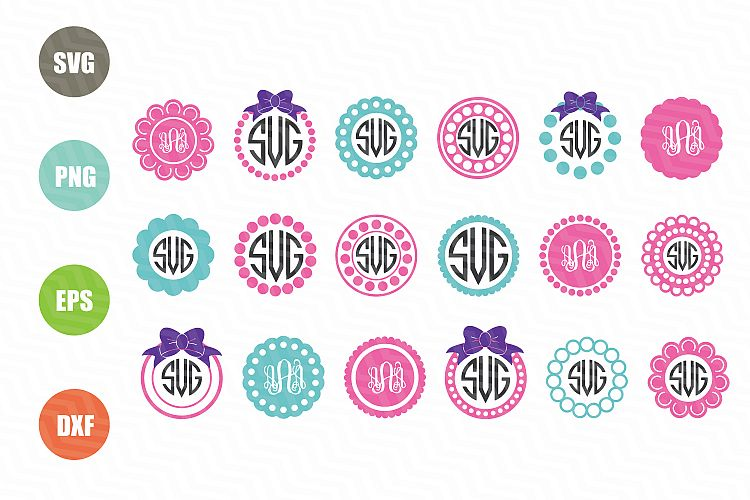 Circle Monogram Frames Svg 50562 Svgs Design Bundles
