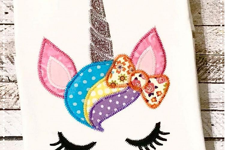 Unicorn Face with Bow Applique Design 4x4, 5x7, 6x10 example image 1