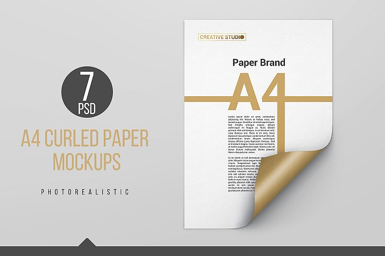 A4 Curled Paper Mockups example image 1