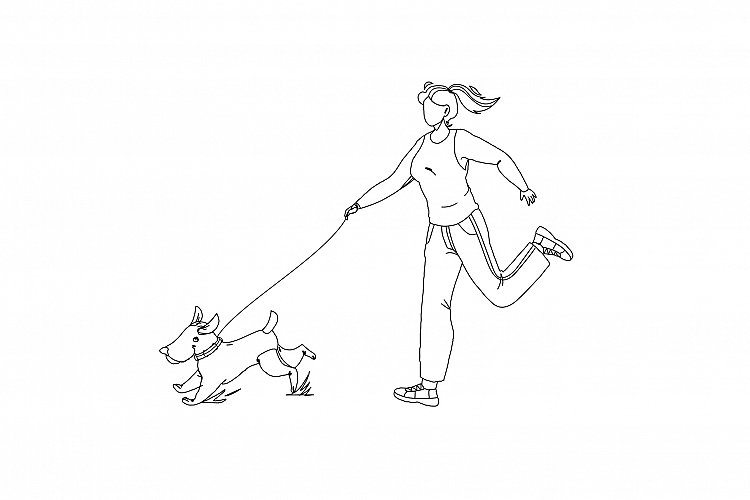 Pet Walking And Running In Park With Girl Vector example image 1