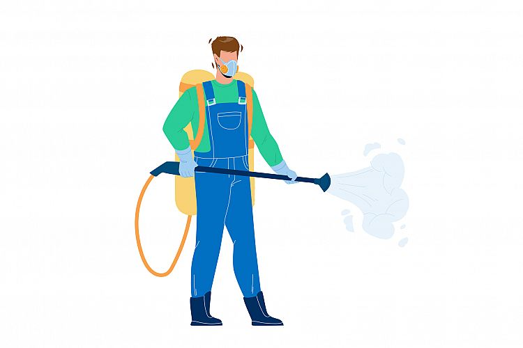 Pest Control Worker Spraying Pesticides Vector example image 1