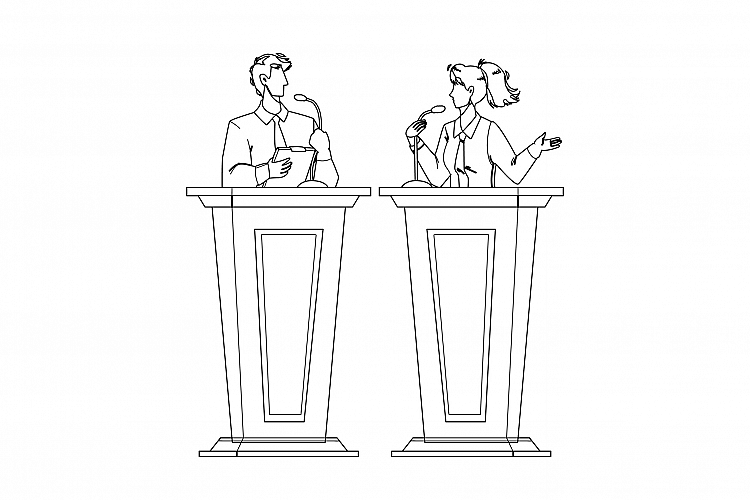 Speaker Discussing With Opponent At Tribune Vector example image 1