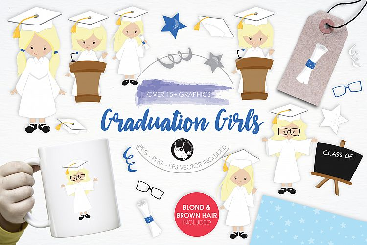 Graduation Girls graphics and illustrations example image 1