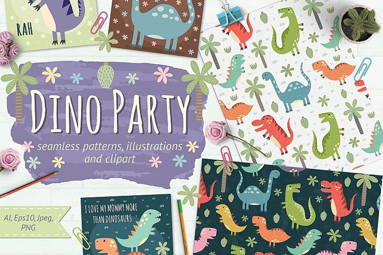 Dino Party: patterns & illusrations example image 1