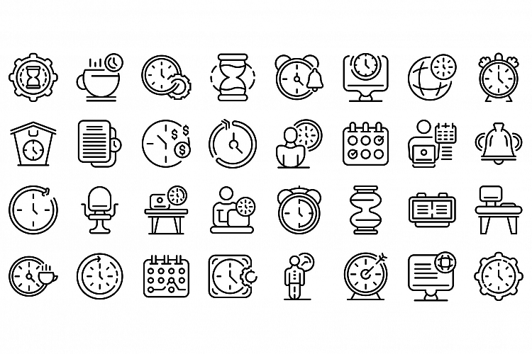 Flexible working hours icons set, outline style example image 1