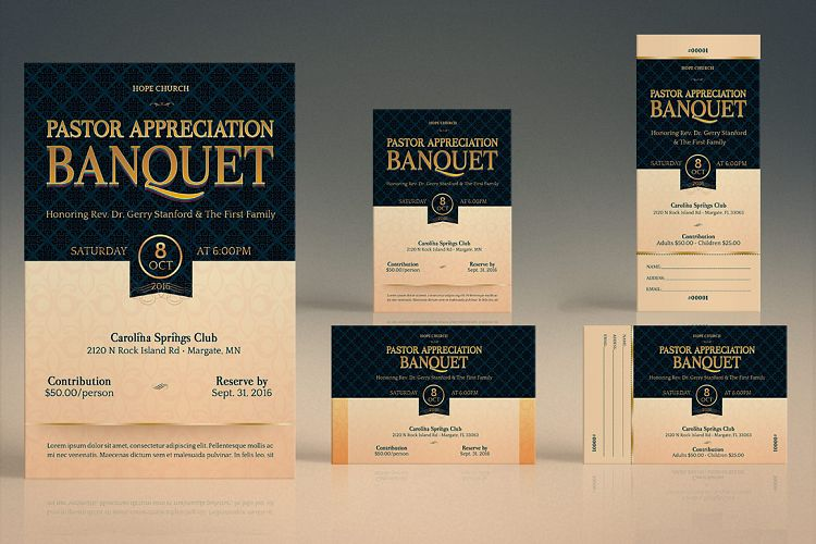 pastor appreciation banquet template bundle