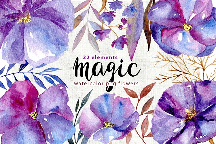 Watercolor violet flowers, 32 png example image 1