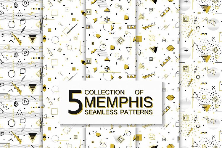 Memphis seamless geometric patterns example image 1