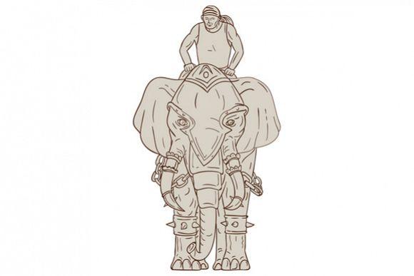 War Elephant Mahout Rider Drawing example image 1