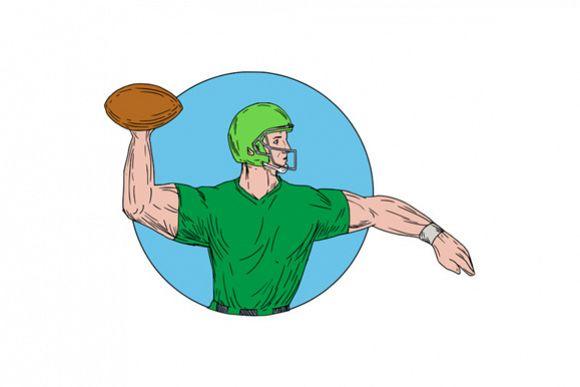 Quarterback QB Throwing Ball Circle Drawing example image 1