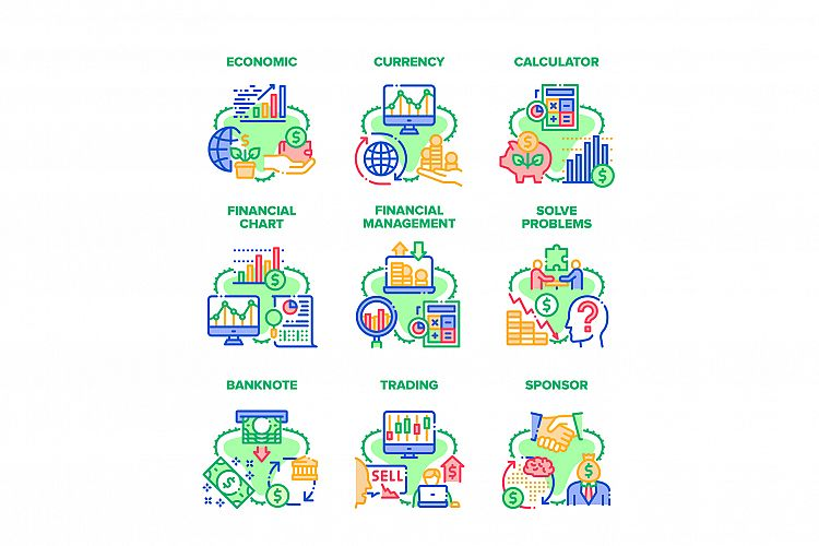 Finance Economic Set Icons Vector Illustrations example image 1