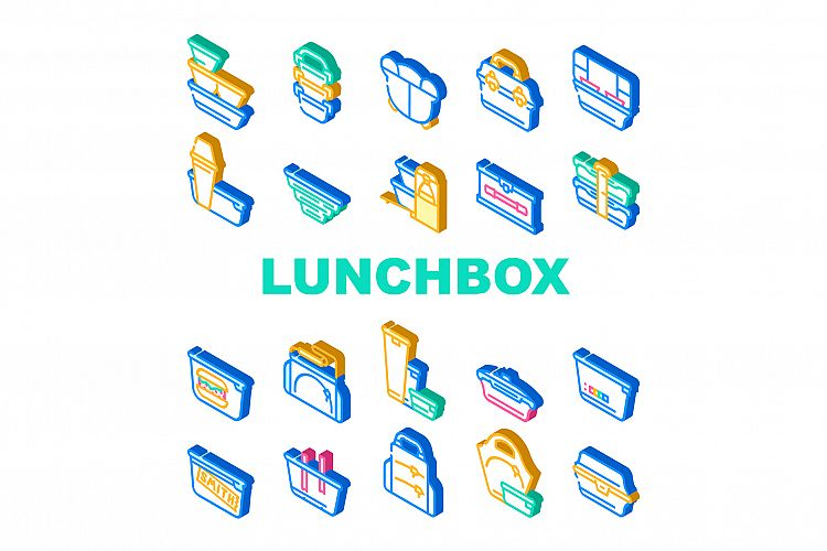 Lunchbox Dishware Collection Icons Set Vector Illustration example image 1