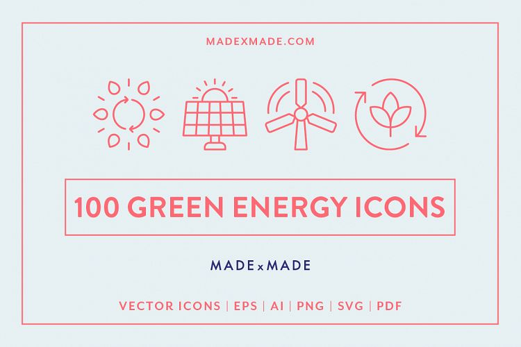 Line Icons - Green Energy example image 1