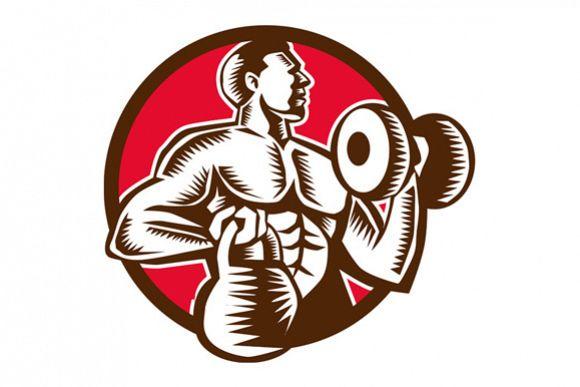 Athlete Lifting Kettlebell Dumbbell Circle Woodcut example image 1