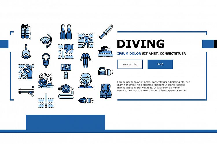 Diving Scuba Equipment Landing Header Vector example image 1