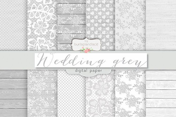Grey wedding digital paper pack example image 1