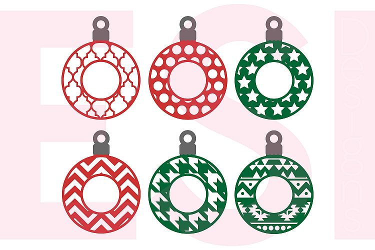 Patterned Christmas Ornament / Bauble Monogram Designs example image 1
