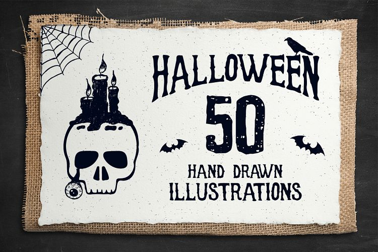 Halloween. 50 Hand Drawn Objects example image 1
