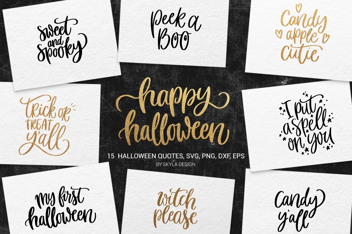 15 halloween quotes bundle, svg, png, dxf, eps