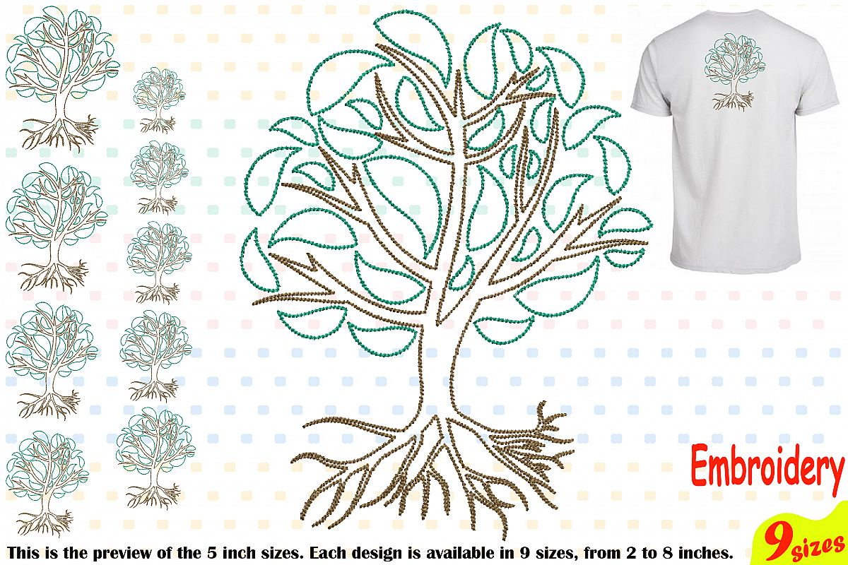 Family Tree Outline Embroidery Design Machine Instant Download Commercial Use digital Outline family love Deep Roots Branches 205b example image 1