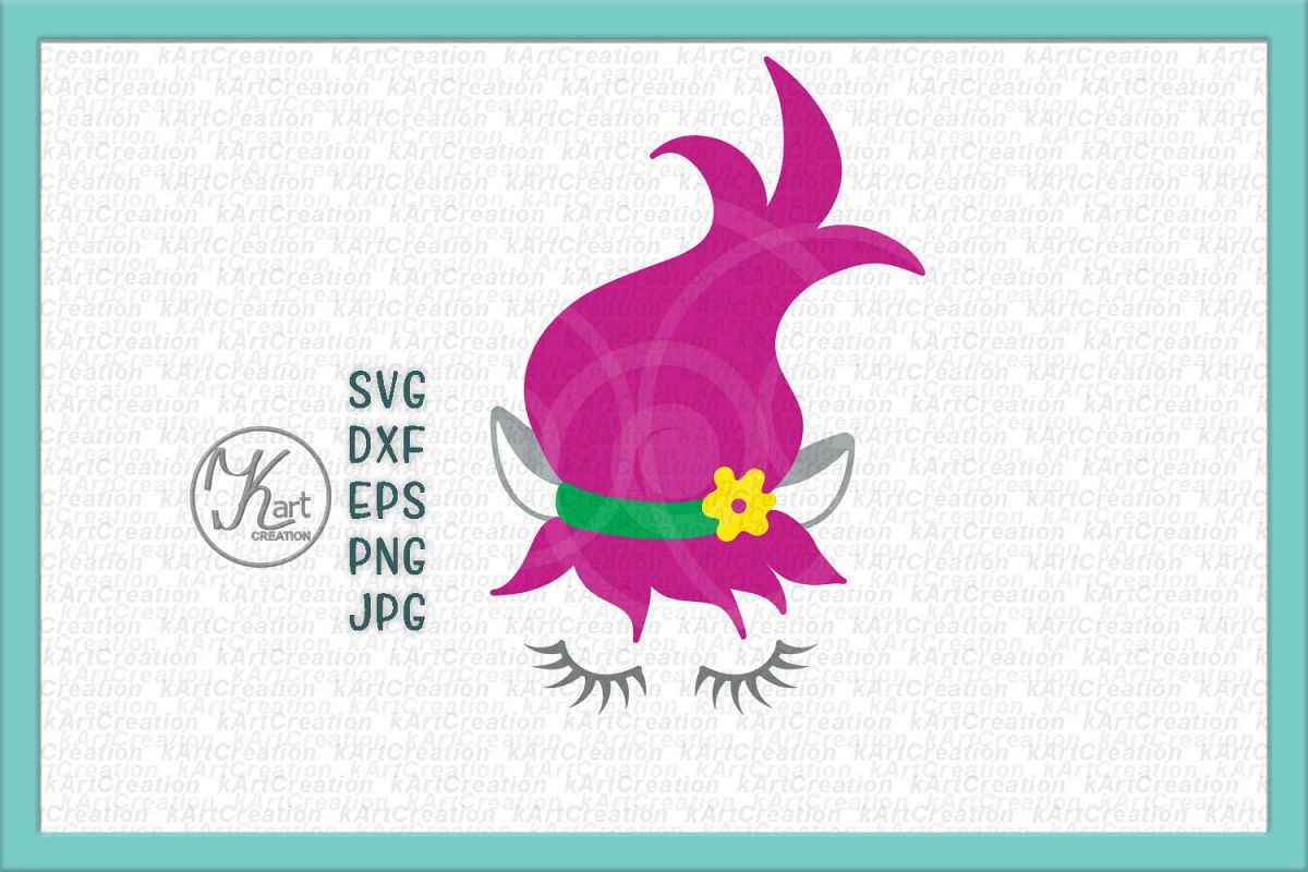 Elf face with eyelashes toddler girl design svg dxf to cut example image 1