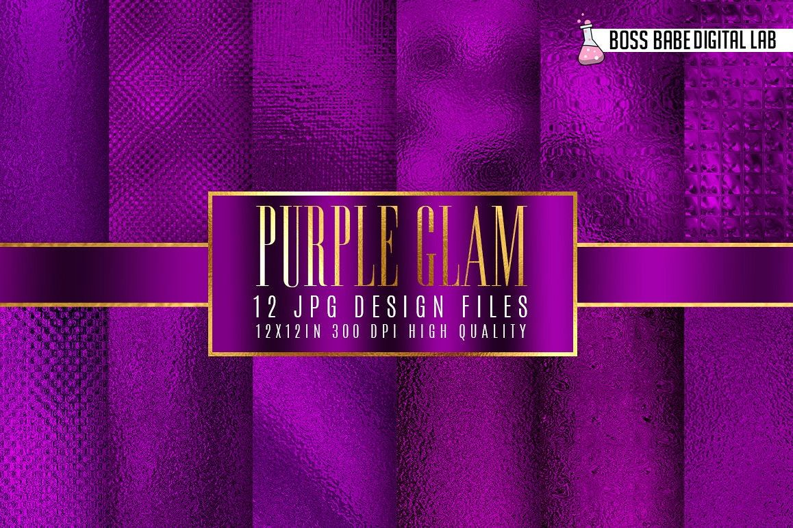 Purple Glam Digital Papers example image 1