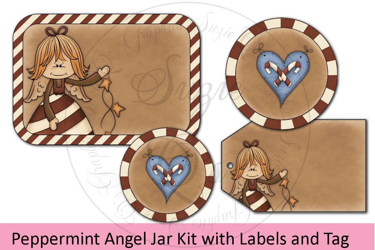 Peppermint Angel Jar Kit - labels and tag example image 1