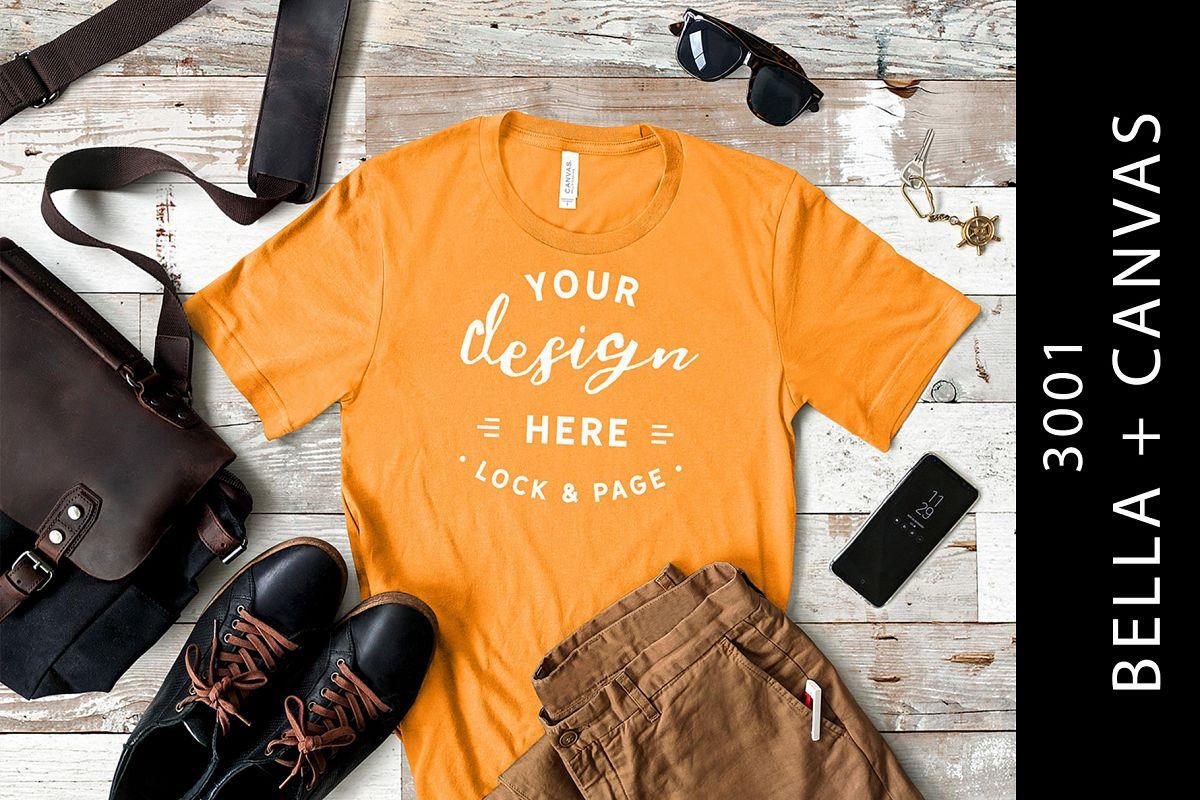 60306cb6acfe4c Burnt Orange Bella Canvas 3001 Male T-Shirt Mockup Masculine example image 1