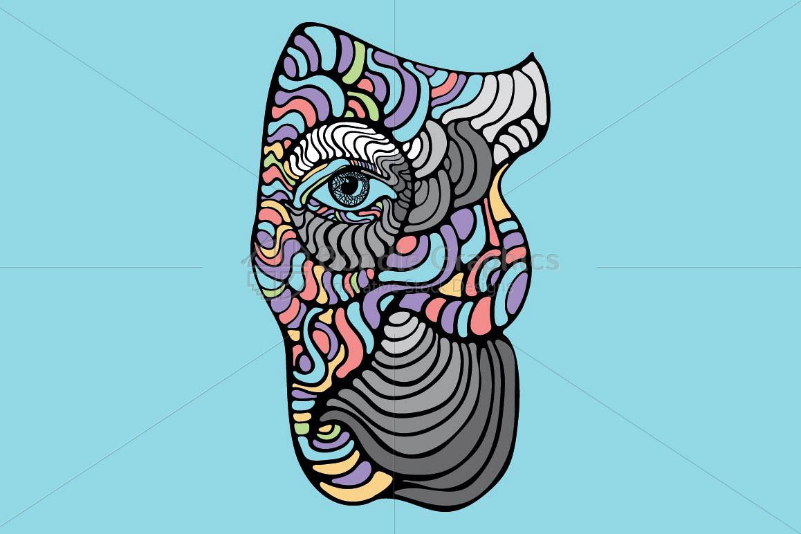 Elephant Profile - Creative Linear Graphics of Animal example image 1
