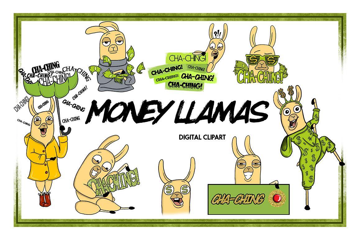 Animal Clipart Llama Clipart Money Clipart Cartoon Sticker Clipart Digital Llama Alpaca Art Funny Digital Llama Llama Drama Commercial