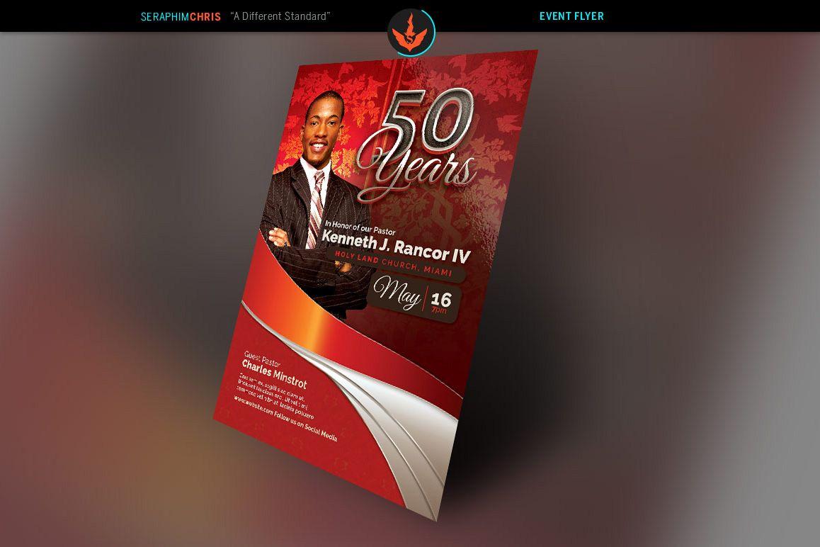 Crimson Pastors Anniversary Church Flyer Template