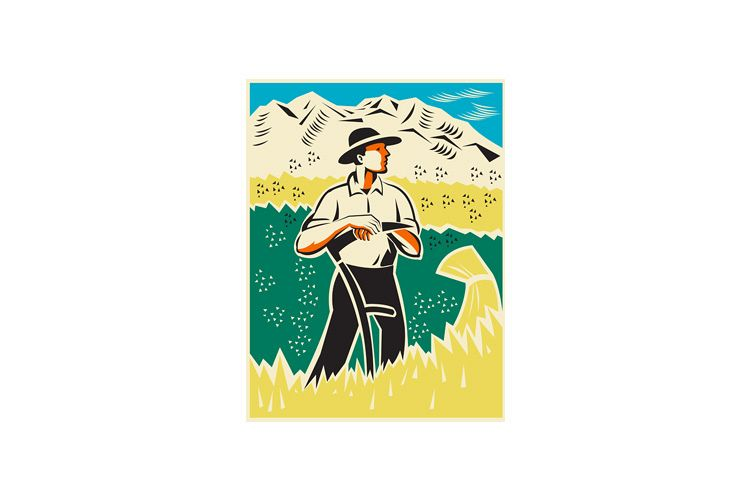 farmer with scythe standing field retro example image 1
