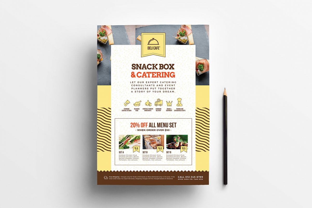 A4 Catering Service Poster Template example image 1