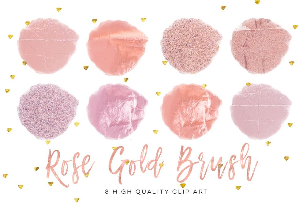 Rose gold circle brush strokes, Rose Minimal Decor strokes, Simple Painting clip art, Rose Gold Circle Frame, Handpainted brush strokes example image 1