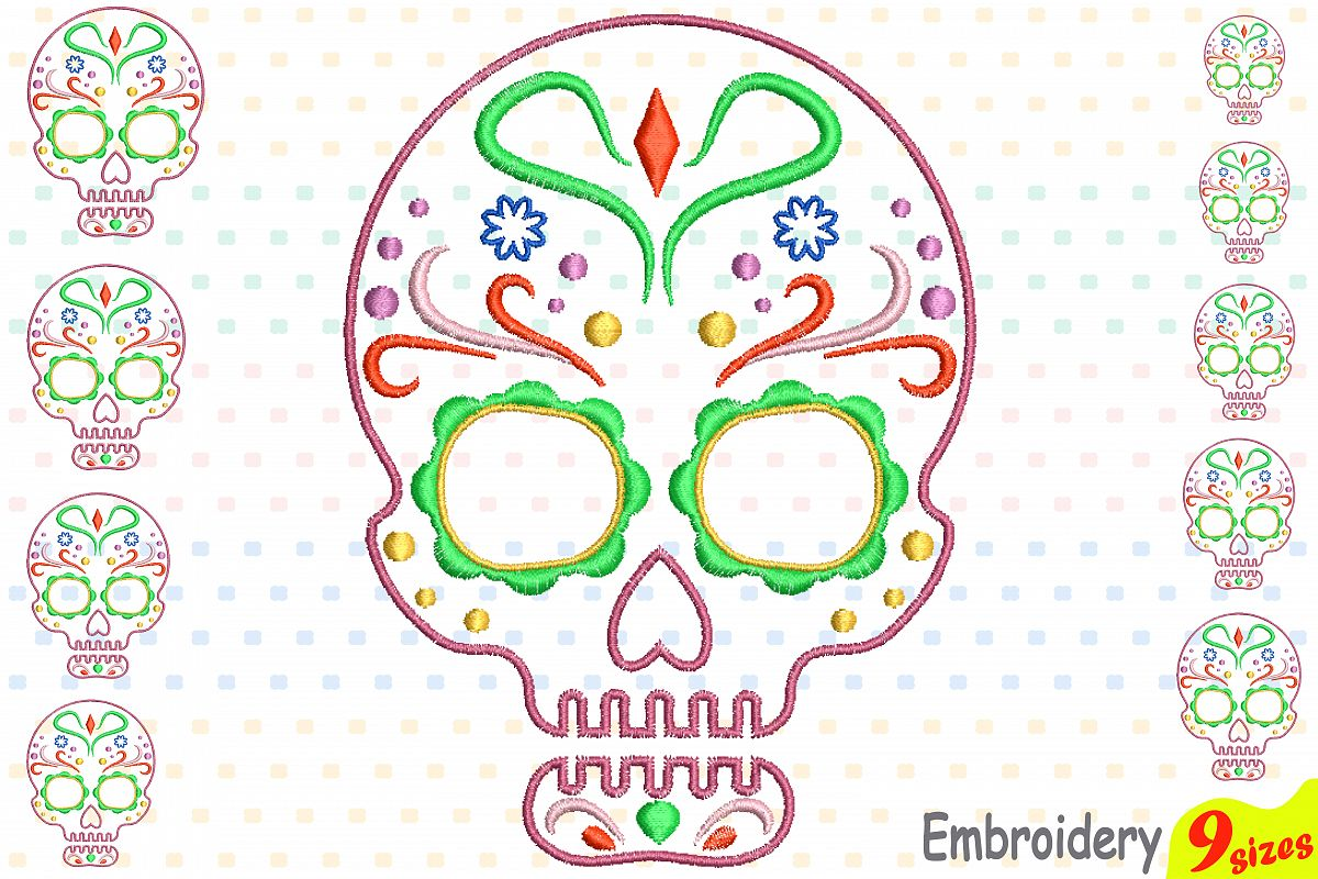 Cinco De Mayo Embroidery Design Instant Download Commercial Use digital file 4x4 5x7 hoop Machine icon outline Fiesta Mexico skull 198b example image 1