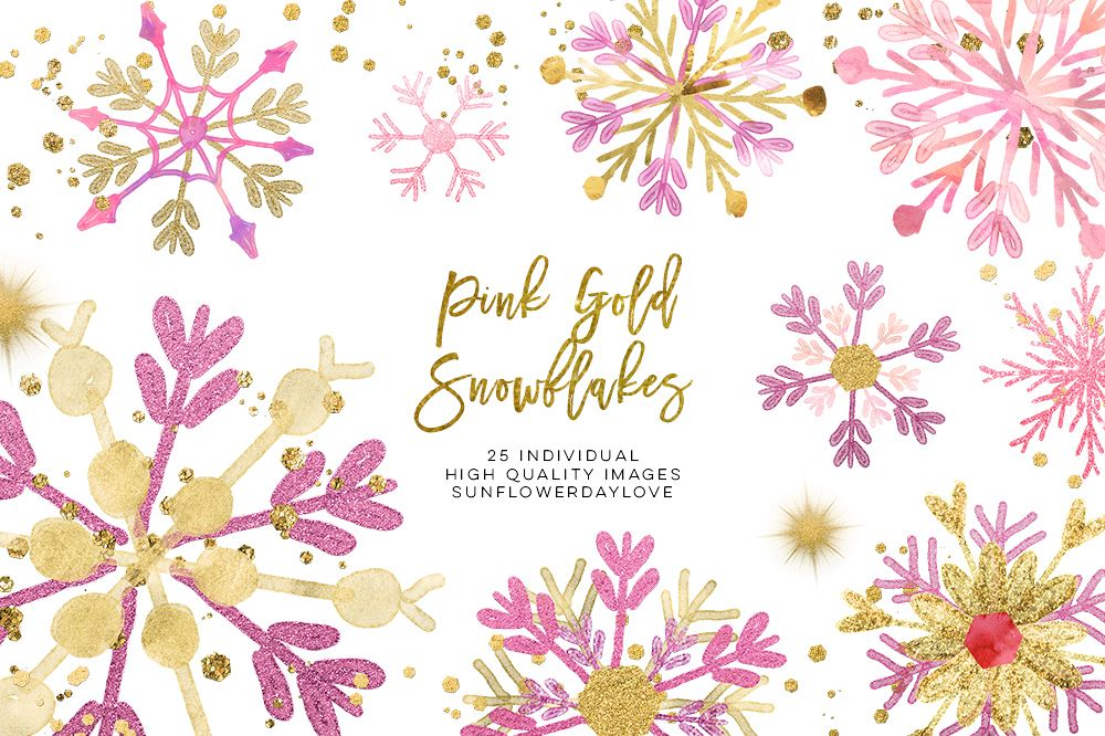 pink gold snowflakes clipart, winter snowflakes clip art example image 1