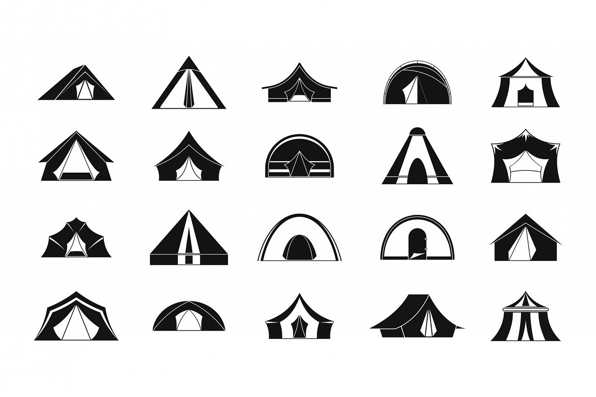 Tent icon set, simple style example image 1