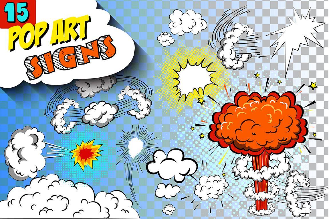Comics pop art signs set_Vol.3 example image 1