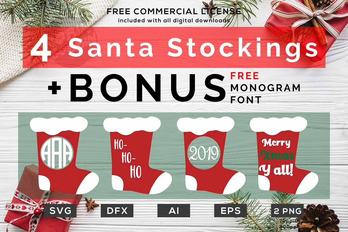 4 santa stocking monogram christmas des design bundles